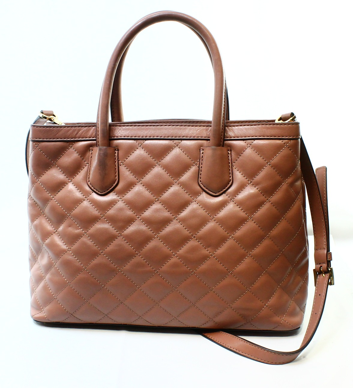 Michael Kors Pink Dusty Rose Leather Quilted Hannah