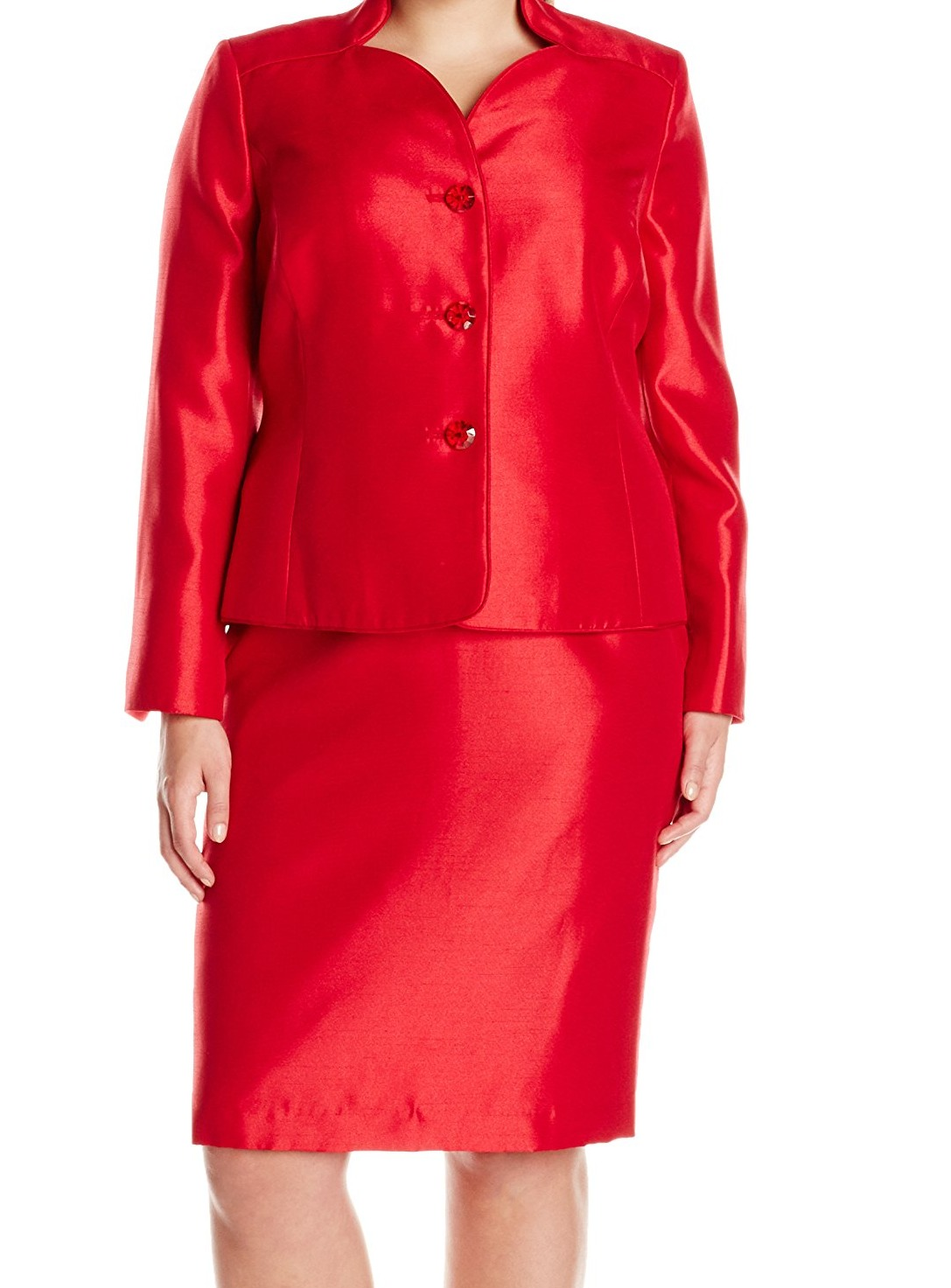 Le Suit New Red Women S Size 16w Plus Shimmer Three Button