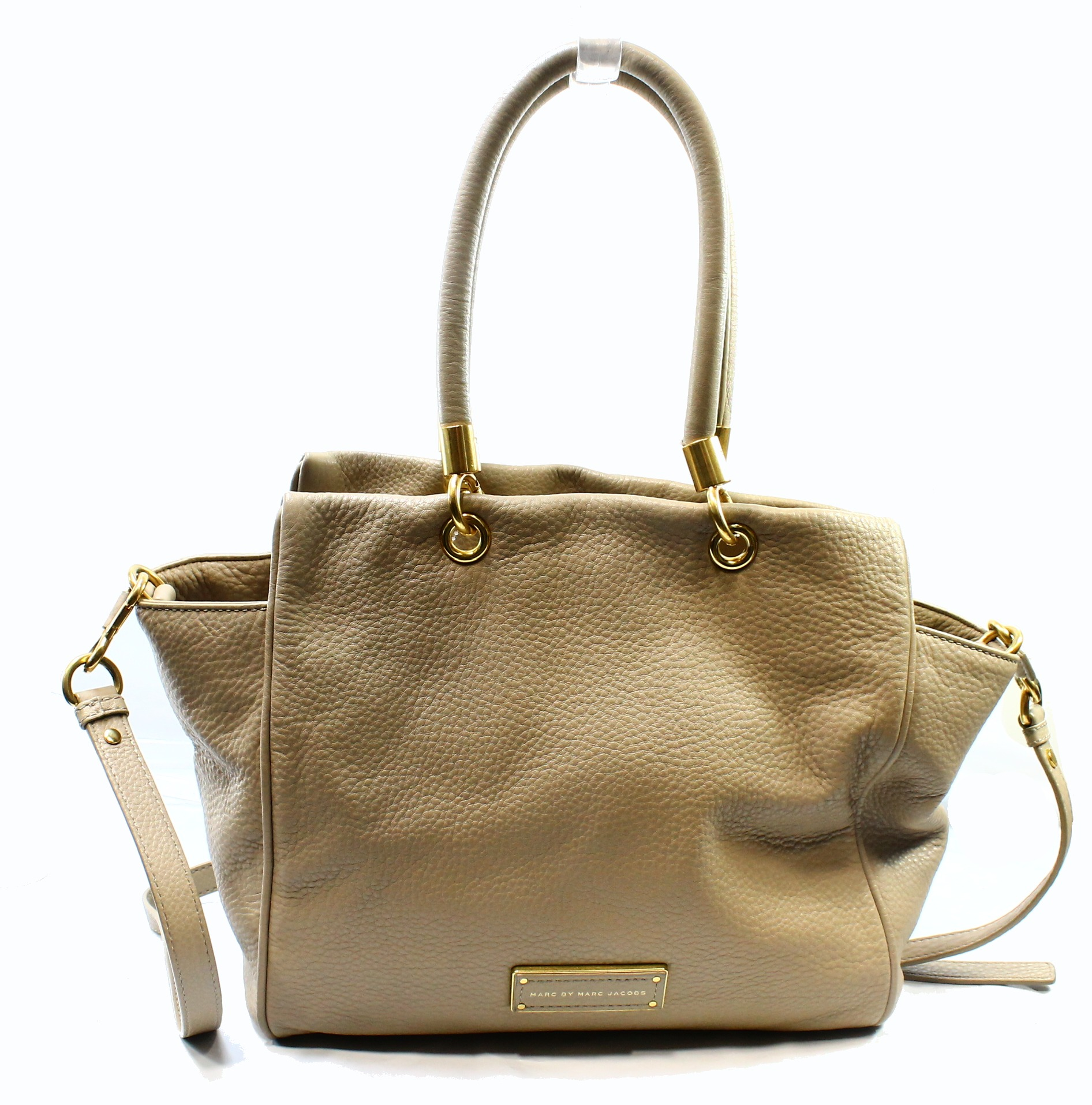 Marc By Marc Jacobs NEW Beige Gold Leather Bentley Satchel