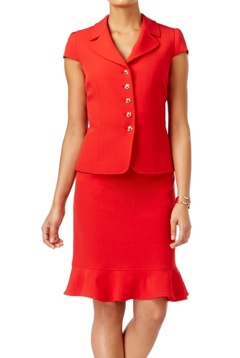 Tahari-By-ASL-NEW-Red-Women-039-s-US-Size-8P-Petite-Flounce-Skirt-Suit-Set-280-385