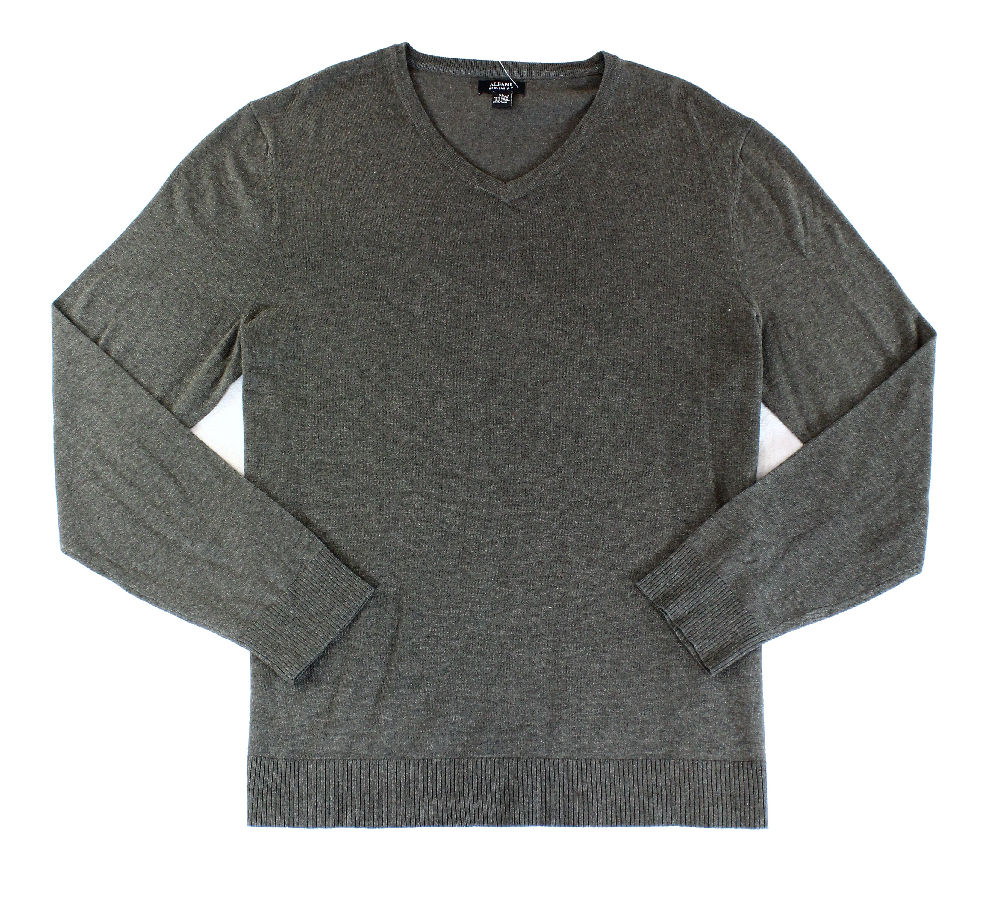 Alfani-NEW-Wet-Sand-Heather-Gray-Mens-Size-XL-Pullover-V-Neck-Sweater-60-145