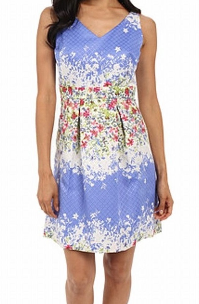 Tahari-by-ASL-NEW-Blue-Women-039-s-US-Size-10P-Petite-Pleated-Floral-Dress-139-053