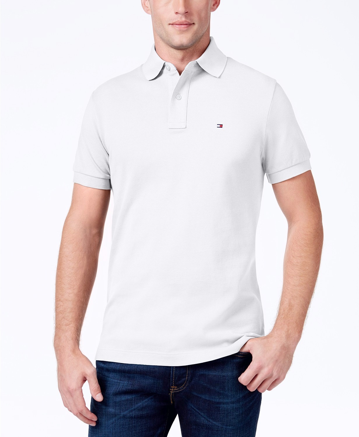 Tommy Hilfiger New Custom Fit Mens Solid Short Sleeve Pique Polo