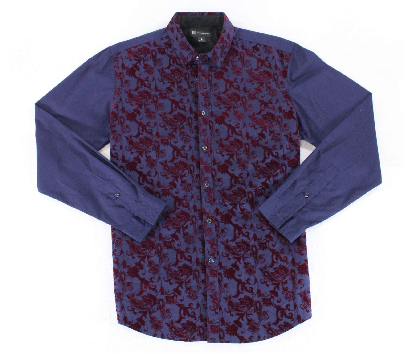 INC NEW Blue Red Mens Size Large L Paisley Velvet Button Down Shirt $69 #054