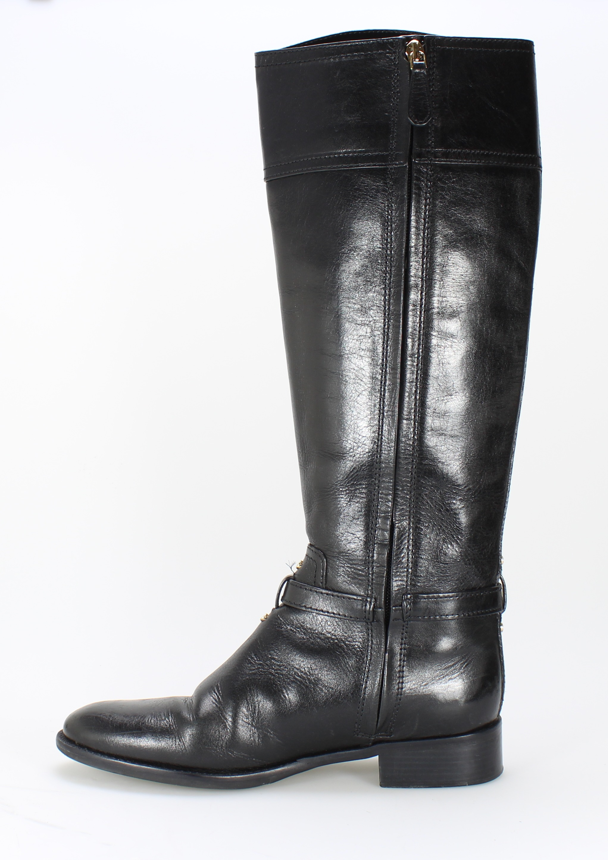 burch new black gold logo shoes 8m knee high leather