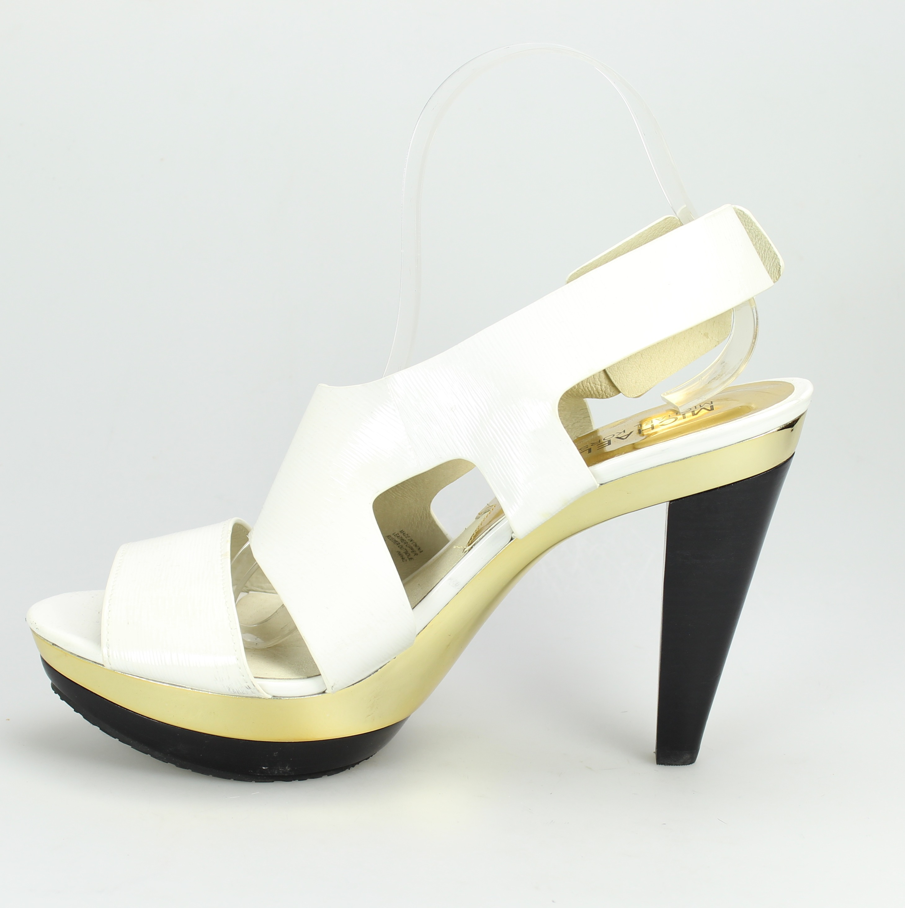 michael kors new carla white shoes 9m open toe patent leather