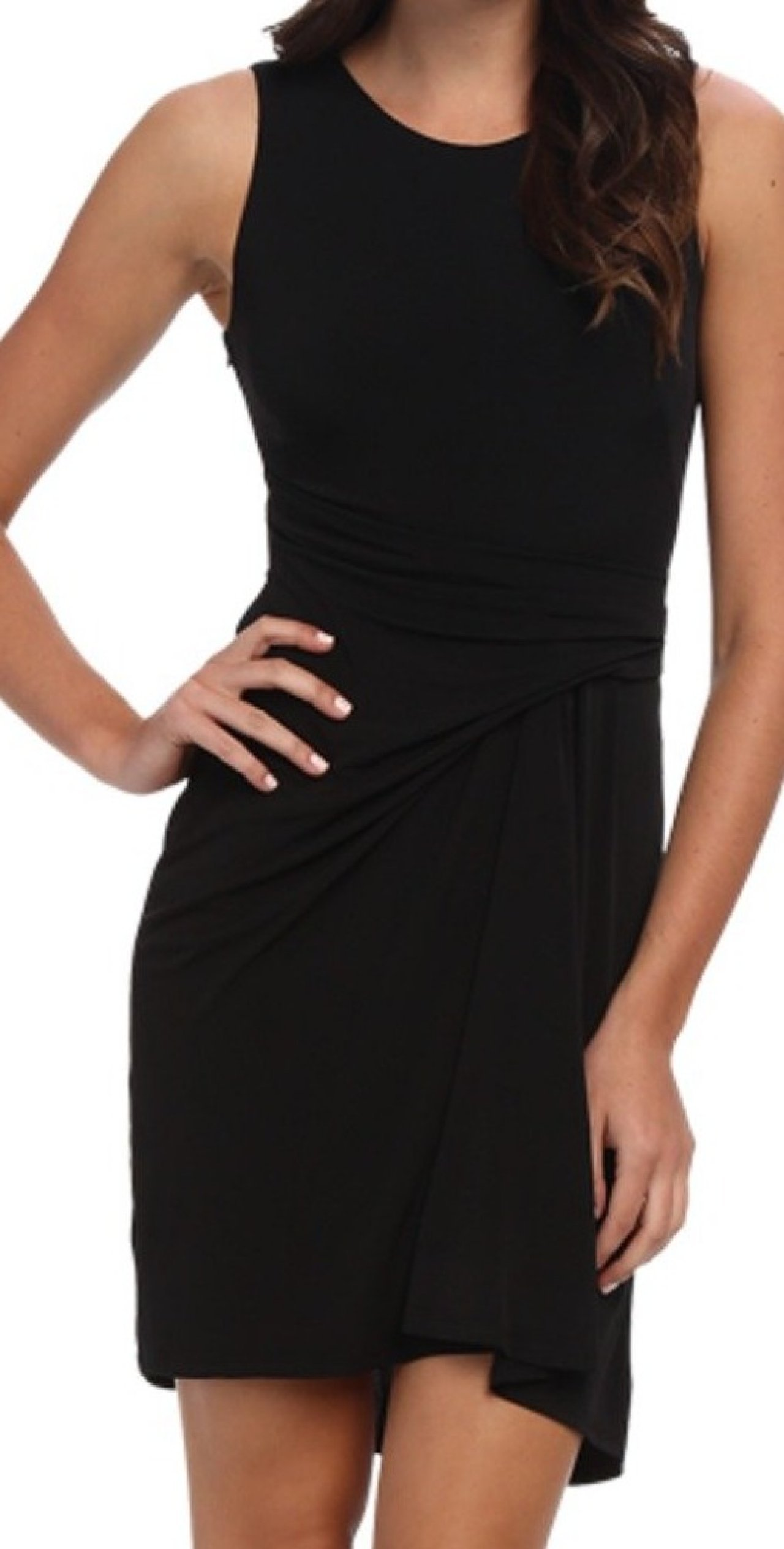 Vince-Camuto-NEW-Deep-Black-Women-039-s-4-Stretch-Ruched-Sheath-Dress
