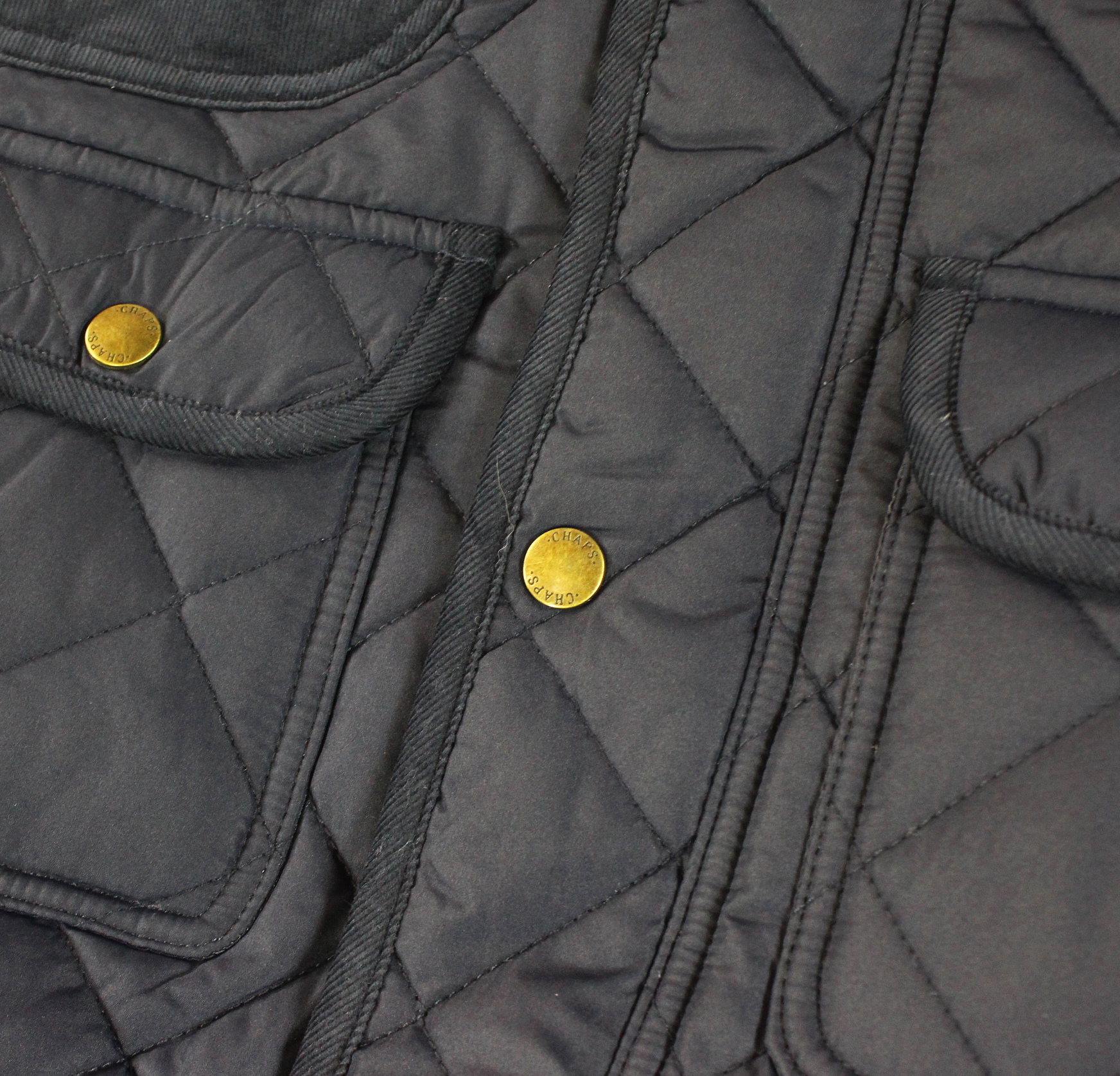 Chaps New Mens Corduroy Trim Quilted Puffer Utility Jacket