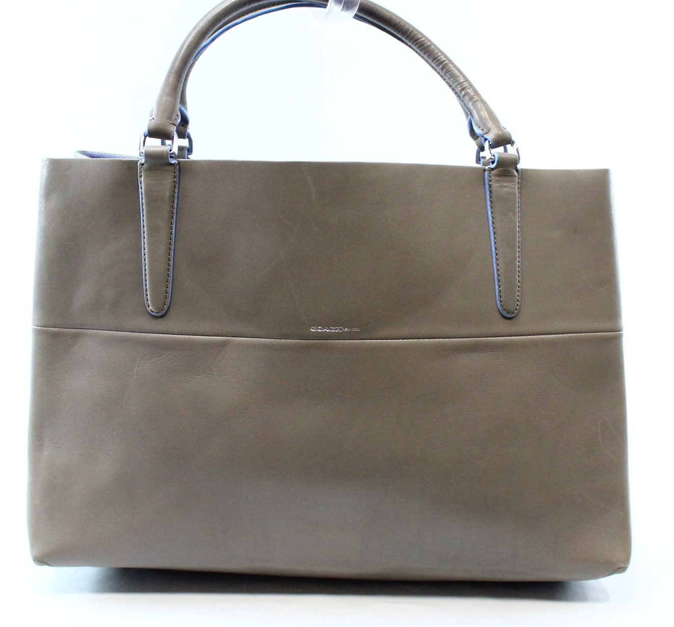 Coach New Grey Purple Glovetan Leather Open Top Tote