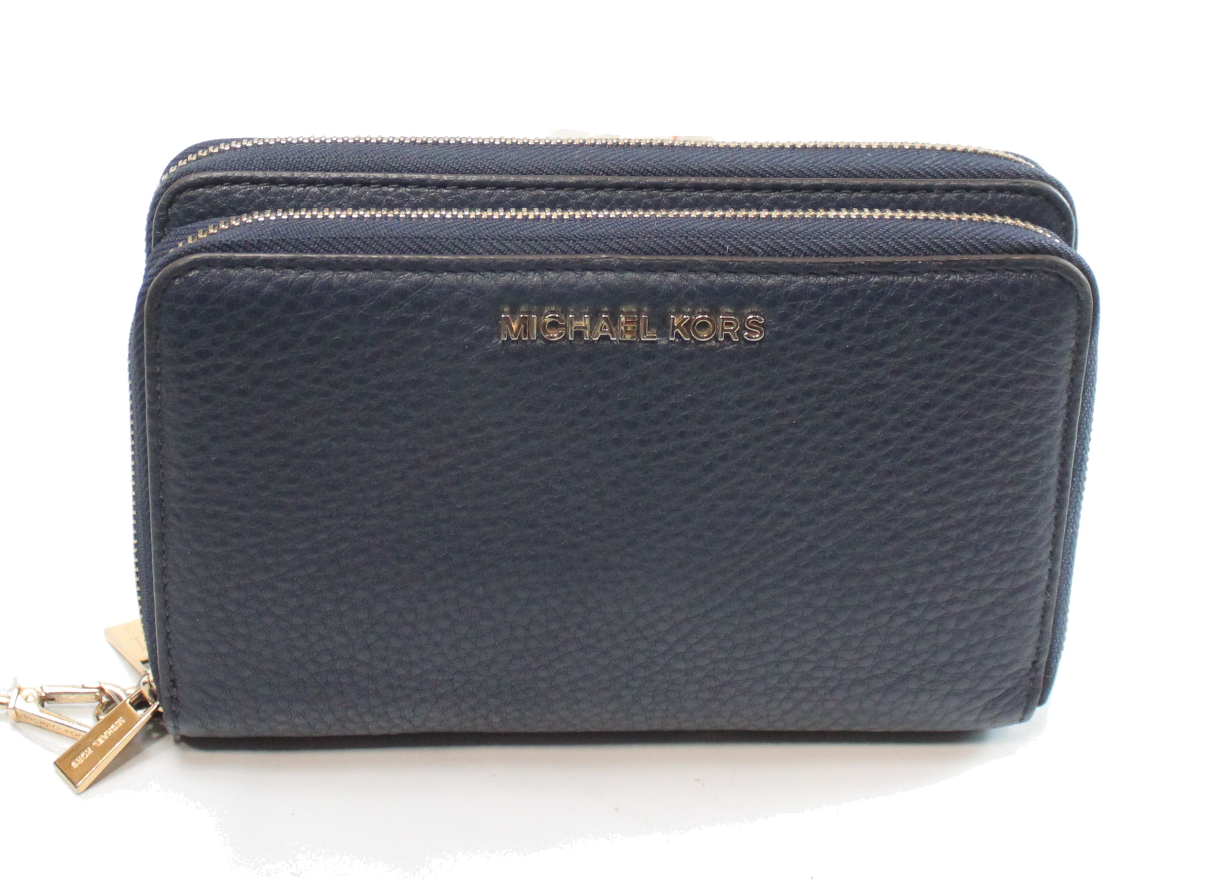 a14ade50562bca Michael Kors NEW Blue Pebble Leather Adele Double Zip Wallet Clutch $168-  #063