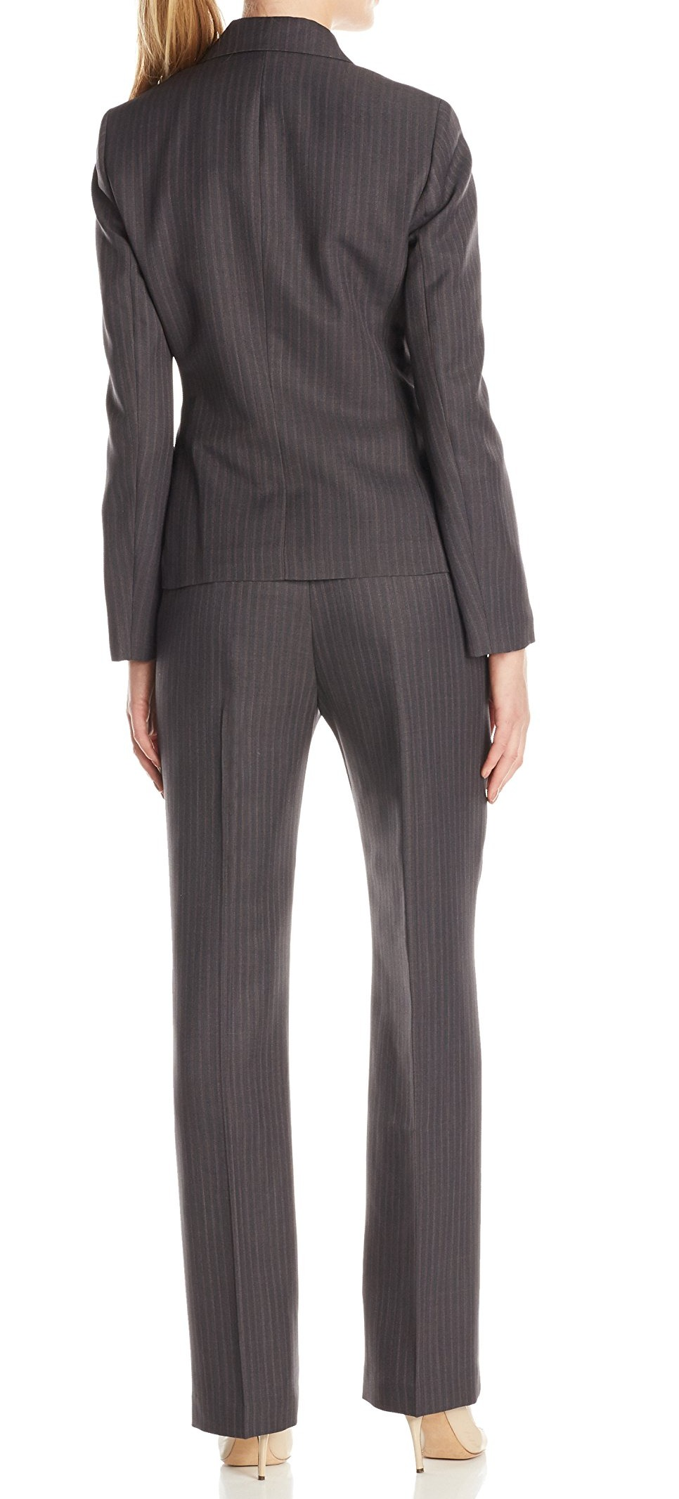Le Suit New Gray Womens Size 18 Plus Two Button Pinstripe