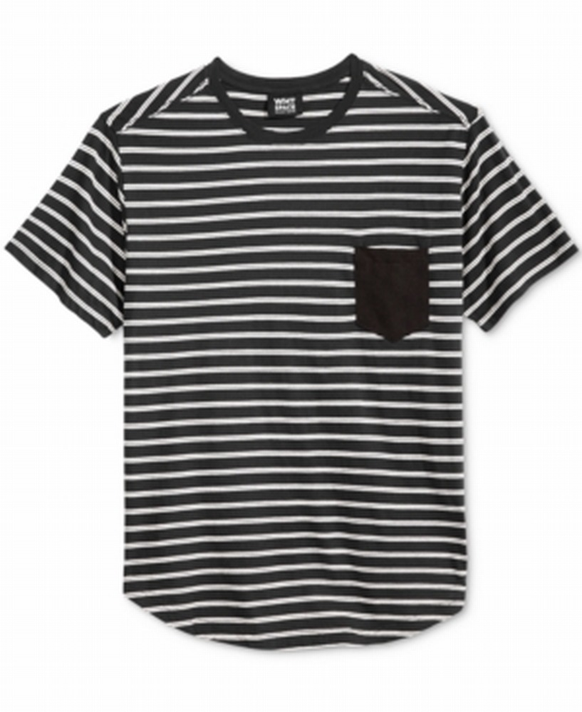 Wht-Space-NEW-Black-White-Mens-USA-Size-2XL-Striped-Short-Sleeve-Tee-Shirt-109