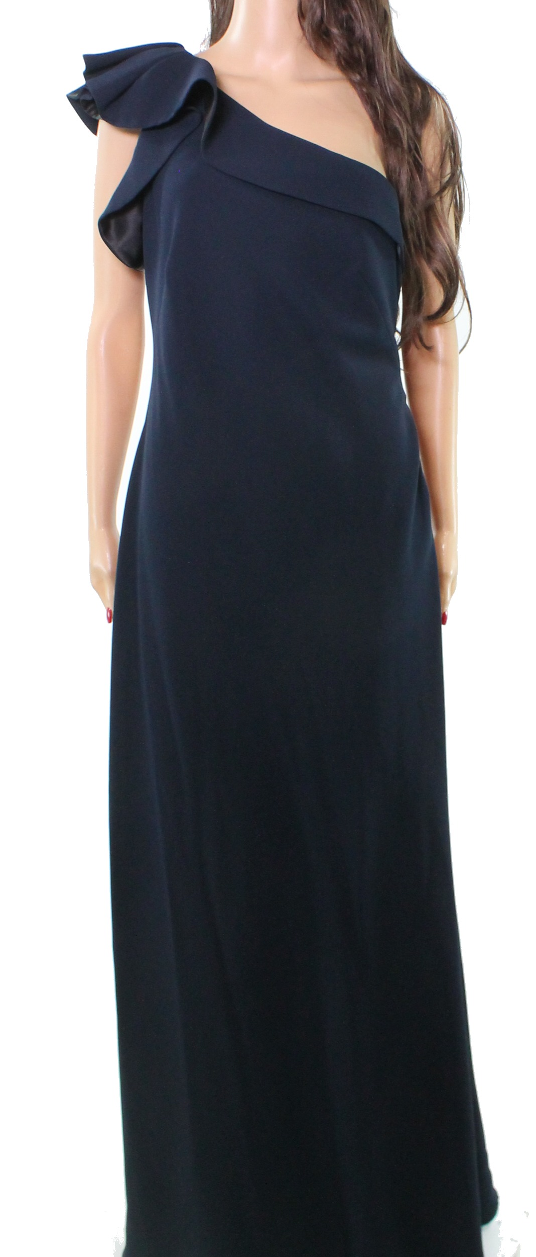 Carmen Marc Valvo Blue Women\'s Size 10 Ruffle One Shoulder Gown $745 ...