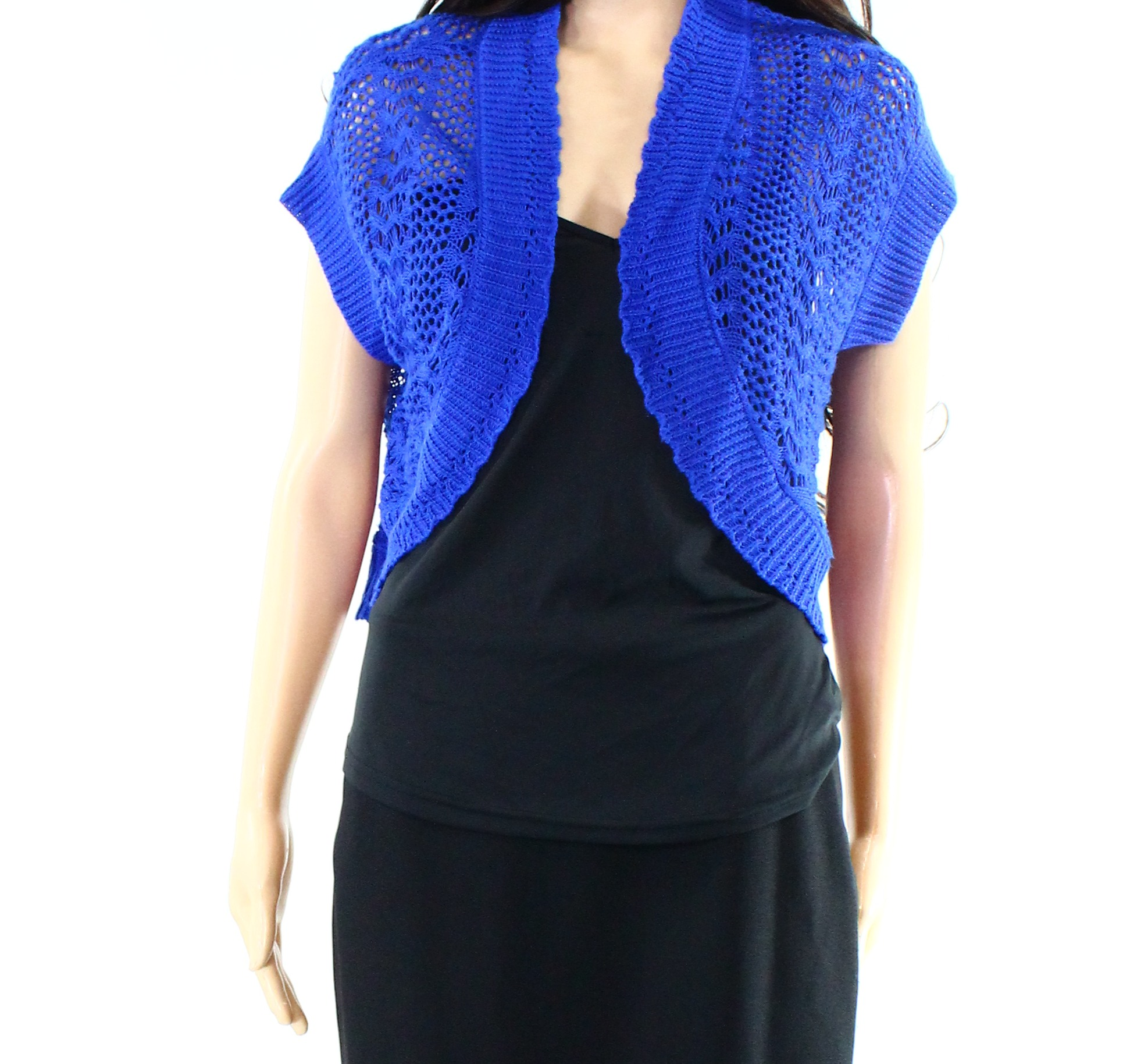 Signature-by-Robbie-Bee-NEW-Blue-Women-039-s-Size-4P-Petite-Shrug-Sweater-99-181