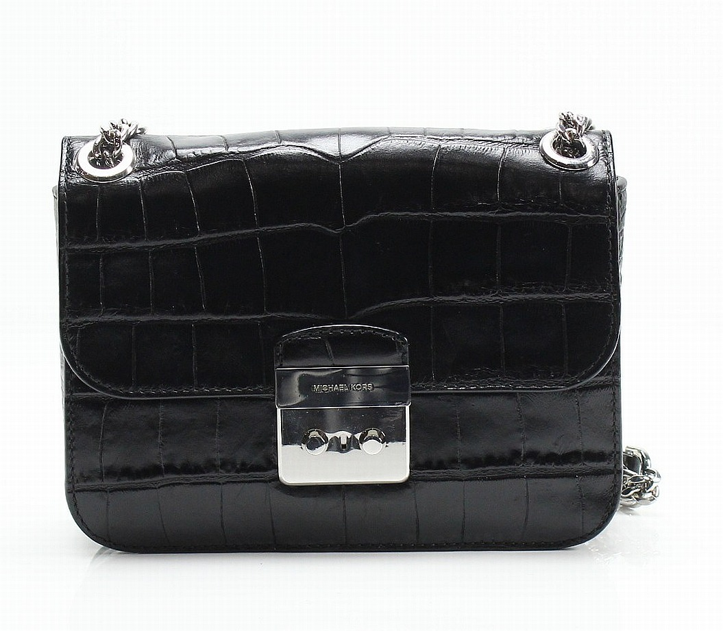 3bff557786a Details about Michael Kors NEW Black Embossed Sloan Editor Chain Shoulder  Bag Purse  398-  035