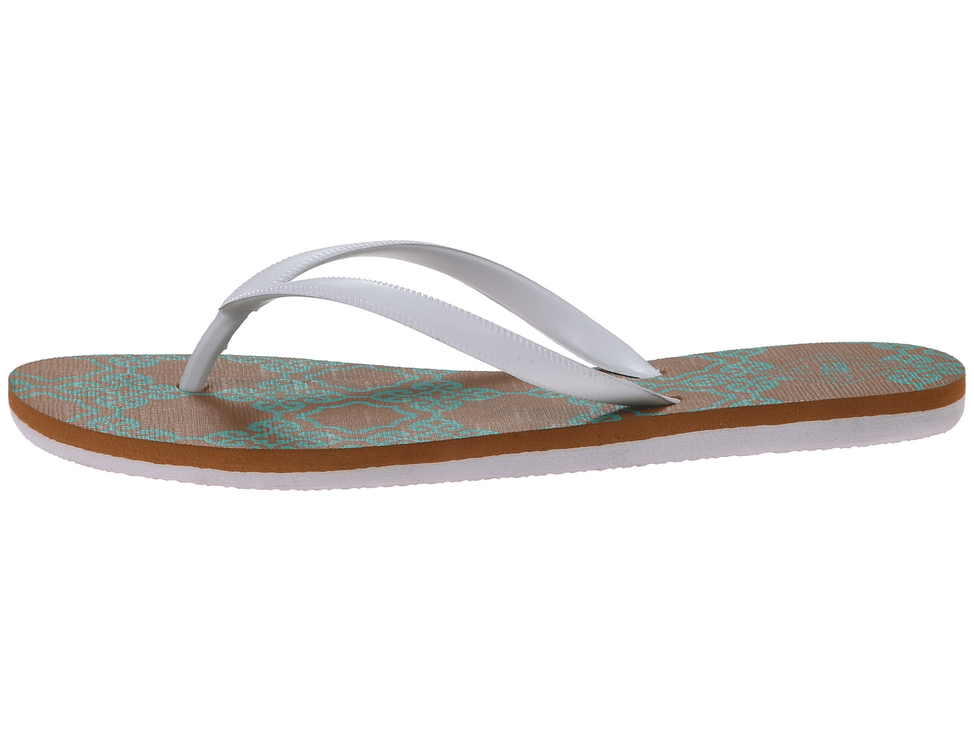 Freewaters NEW White Tropea Print Shoes Size 11M Flip Flops $97- #964 SALE