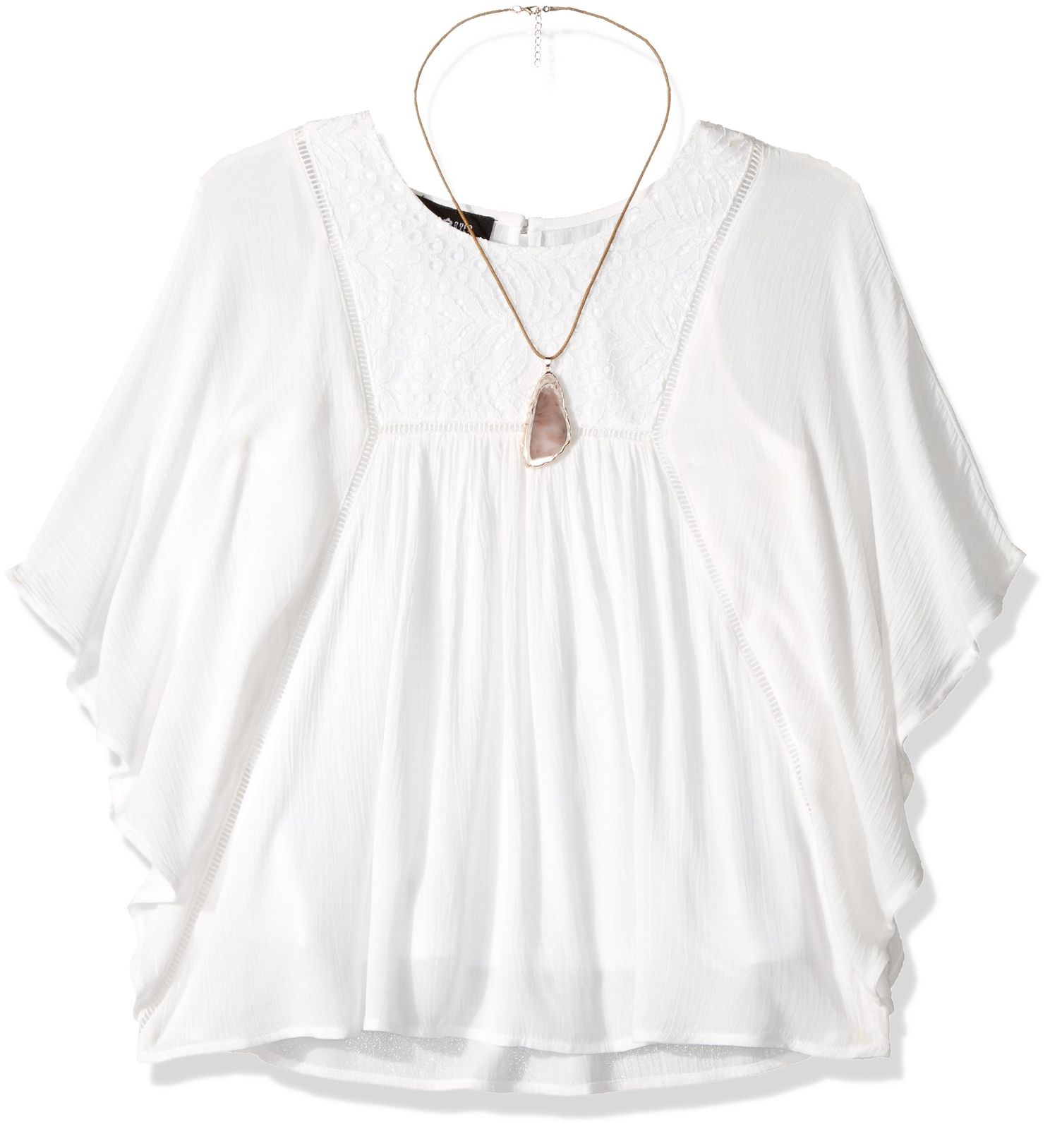 Amy-Byer-NEW-White-Girls-Size-Small-S-7-8-Poncho-Wing-Sleeve-Lace-Top-824