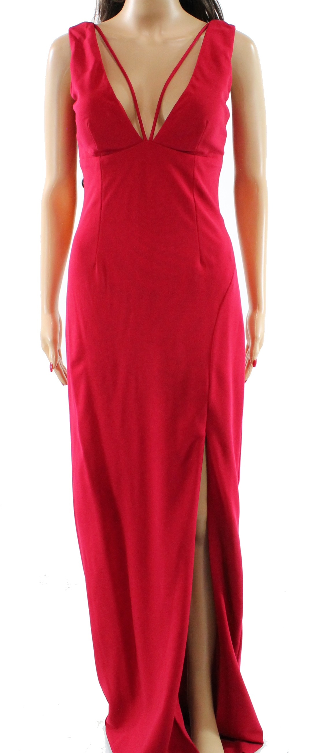 Nicole Miller NEW Red Women\'s Size 4 V-Neck Front Slit Prom Gown ...