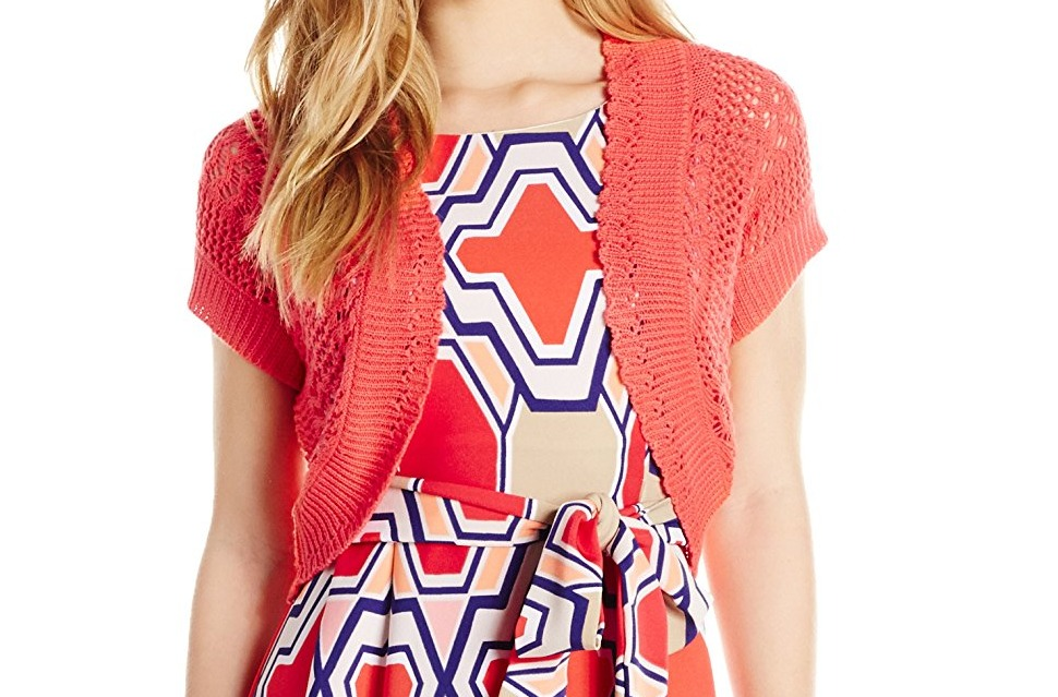 Signature-by-Robbie-Bee-NEW-Pink-Coral-Women-039-s-Size-10P-Petite-Shrug-44-542