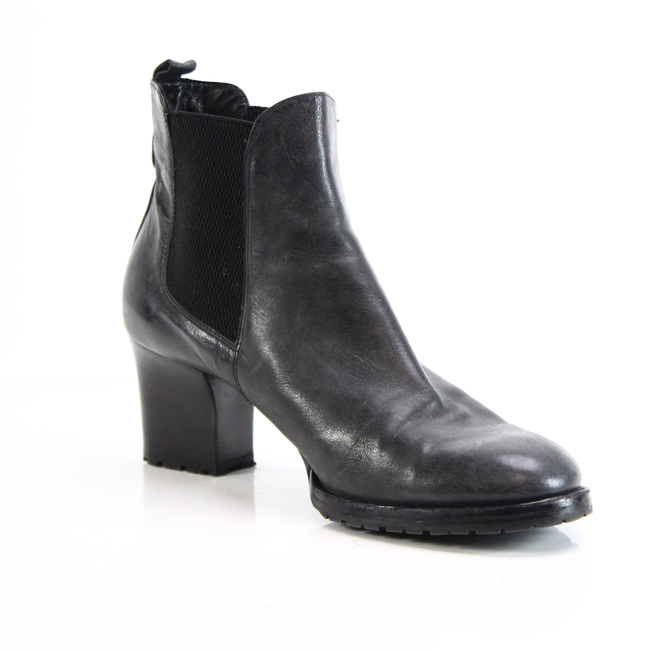 Vero Cuoio NEW Black Women's 10M Medium Heel Booties Leather Shoes 0- #461