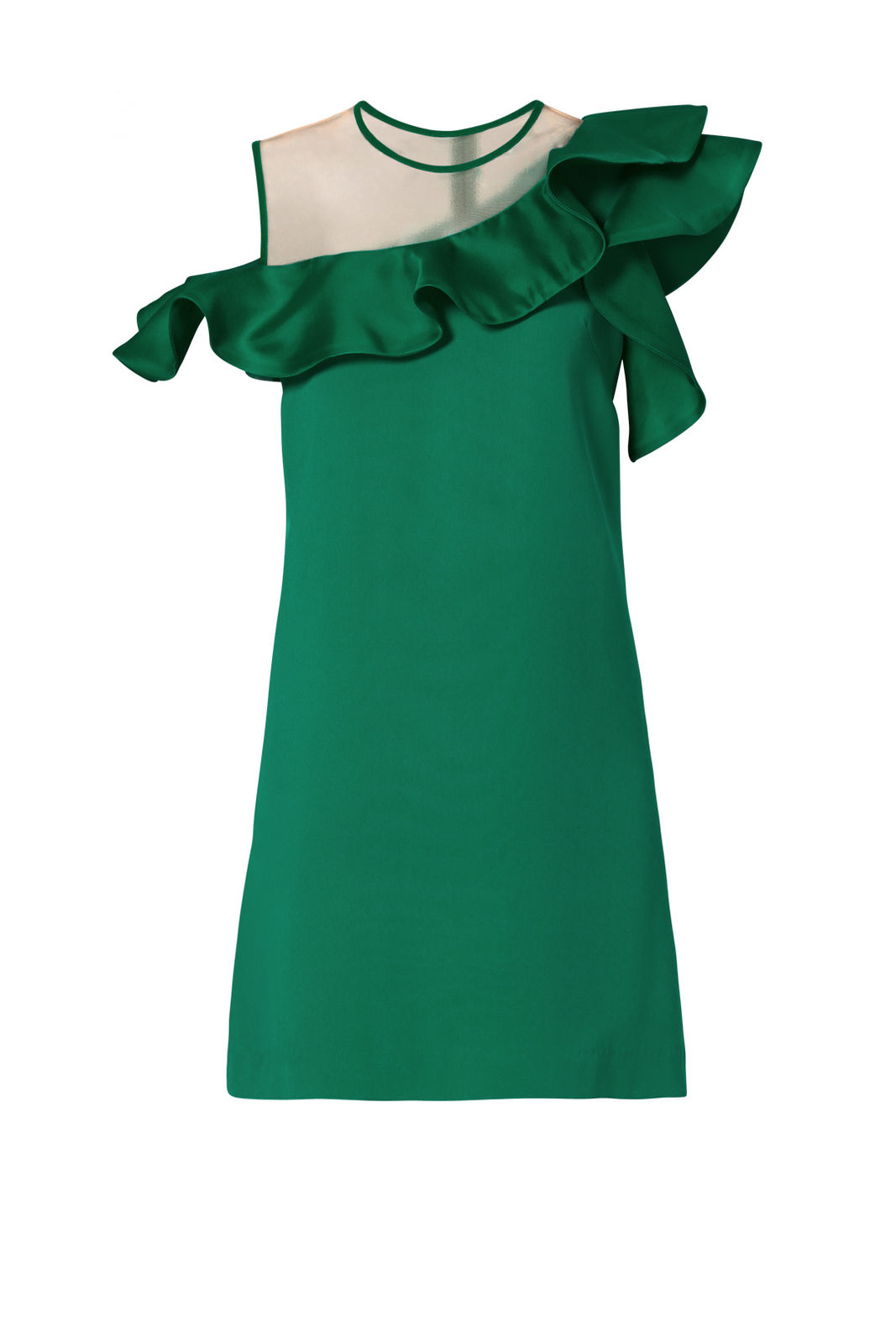 Nha Khanh Green Women's US Size 10 Ruffle-Trim Mesh Yoke Sheath Dress $530- #843