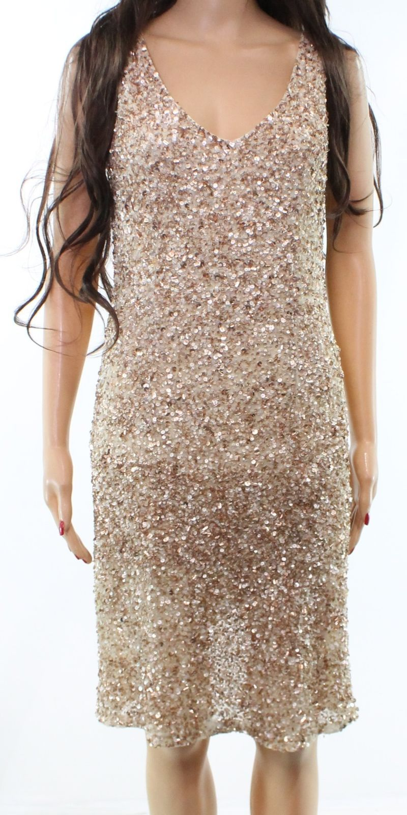 205ef6f477 Details about Theia Champagne Gold Women s Size 4 V-Neck Sequin Sheath Dress   750-  271