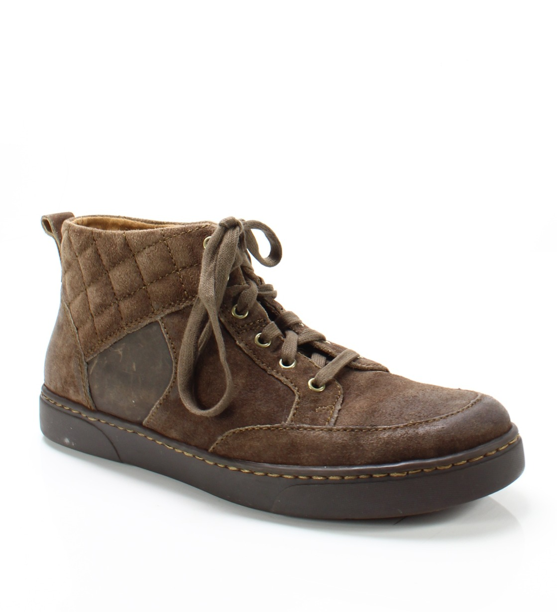 Born Dark Brown Men's Size 8M Lace-Up Suede Hi-Top Quilted Sneakers 0- #333