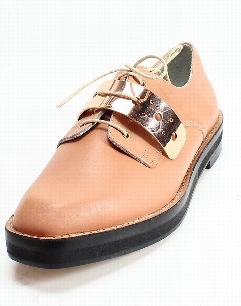 Miista London NEW Beige Gold Plated Square Toe 6.5M Leather Oxfords 6- #011