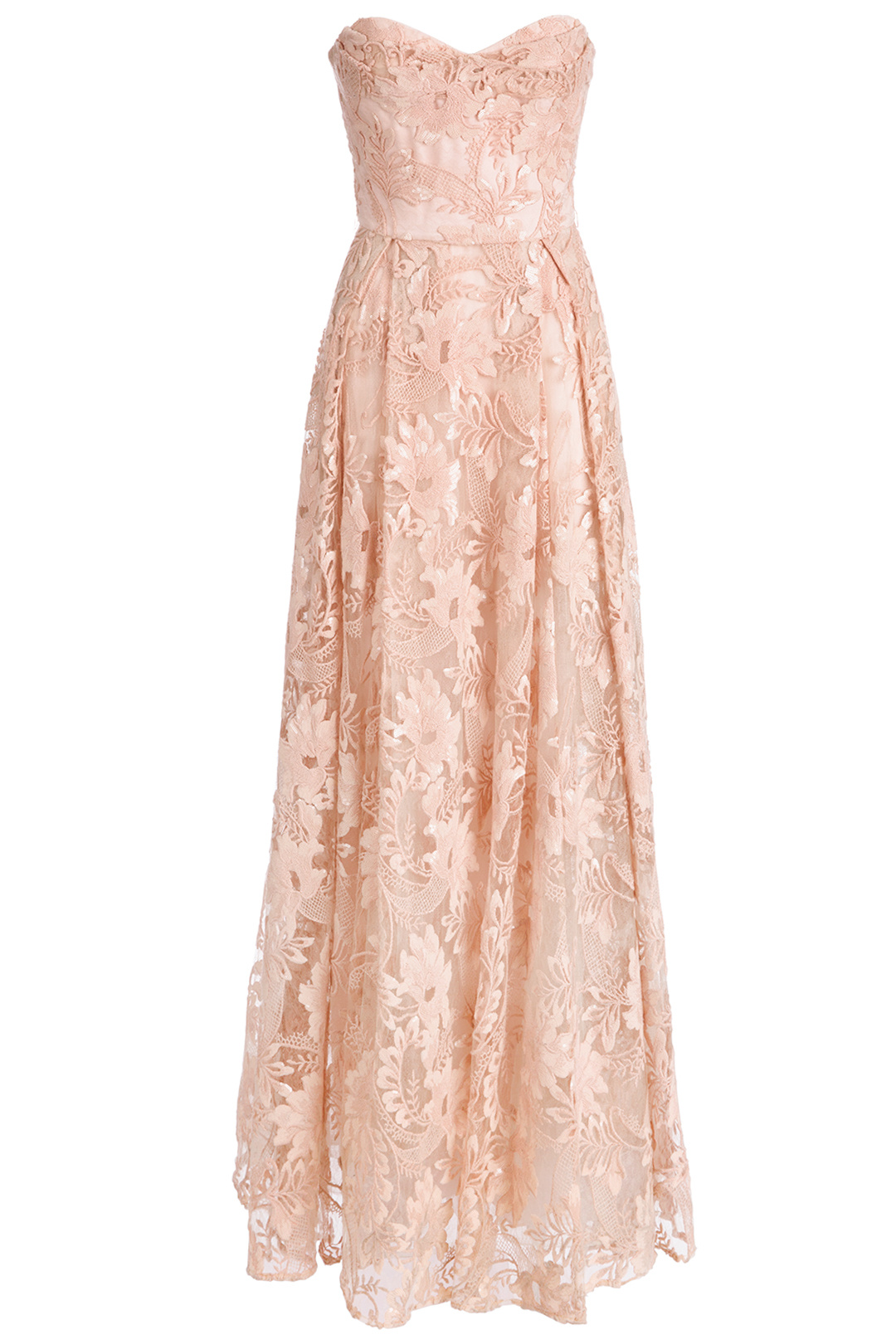 Marchesa Notte Pink Floral-Lace Pleated Women\'s Size 10 Maxi Dress ...
