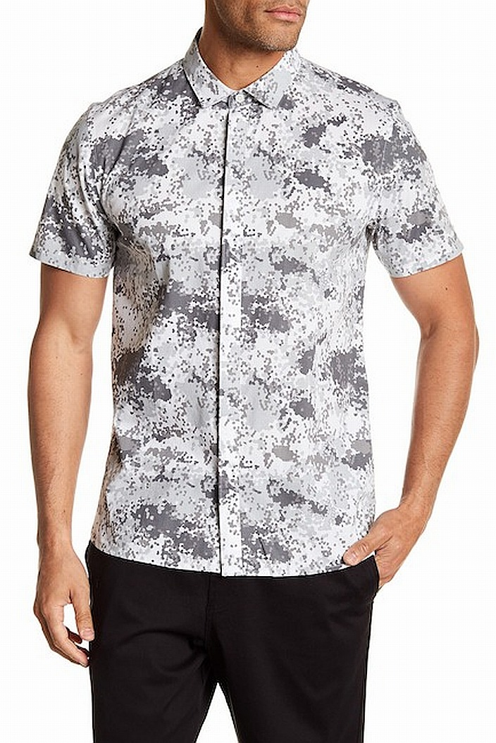 e7dafc06ed Tavik NEW White Gray Mens Size Large L Pixelated Camo Button Down ...
