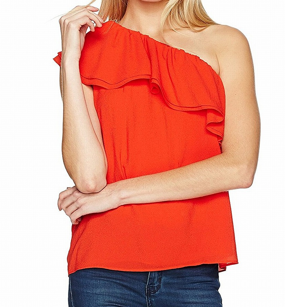 3806f4ebb2bd7 Details about Rebecca Taylor NEW Red Women s Size 8 One-Shoulder Ruffle Top  Silk  250  190