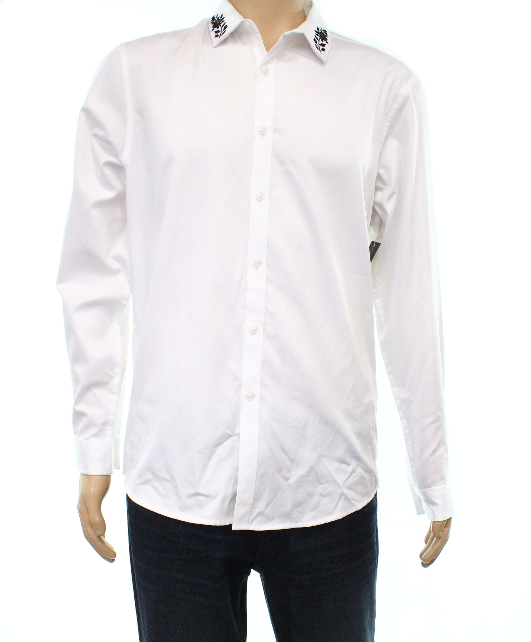 Inc New White Mens Size 2xl Embroidered Button Down Cotton Shirt 69