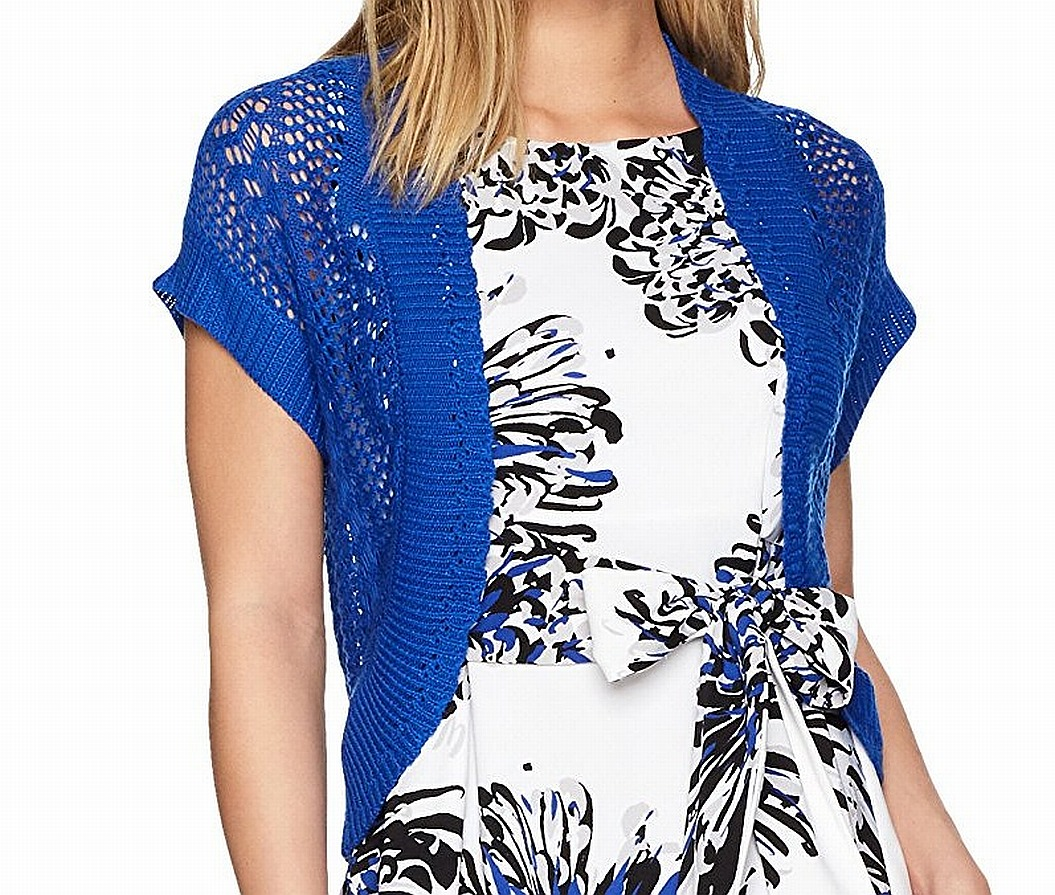 Signature by Robbie Bee NEW Blue Women's 6P Petite Royal Crochet Shrug $99- #503
