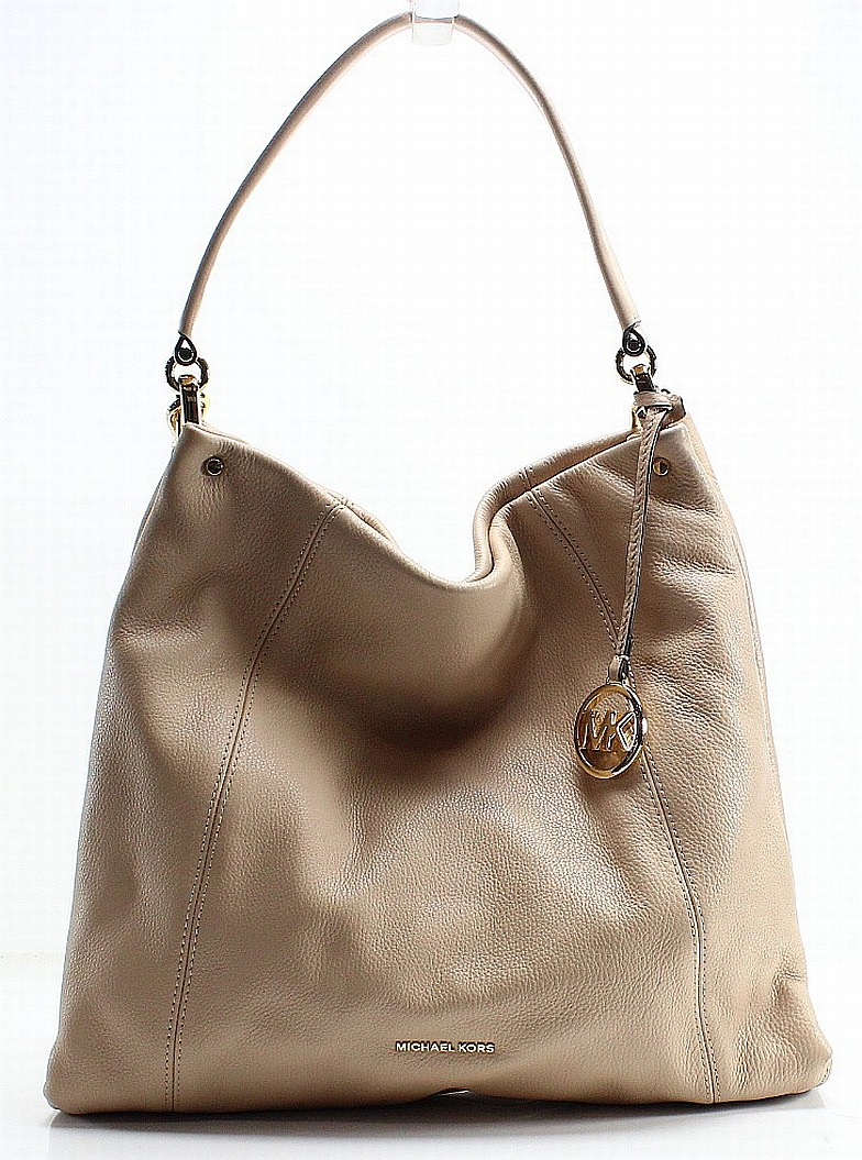 f88a9f871989 Michael Kors Beige Oyster Pebble Leather Lex Hobo Shoulder Bag Purse  368   017