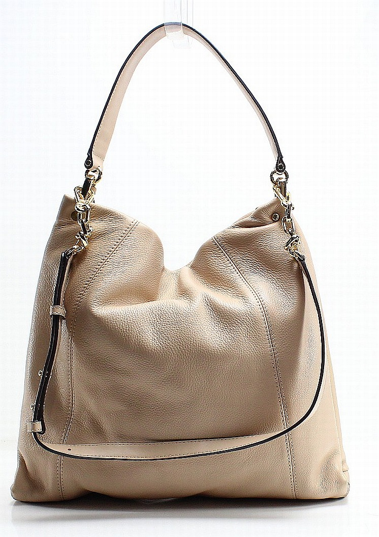 a6ae2f8237f6 Michael Kors Beige Oyster Pebble Leather Lex Hobo Shoulder Bag Purse ...