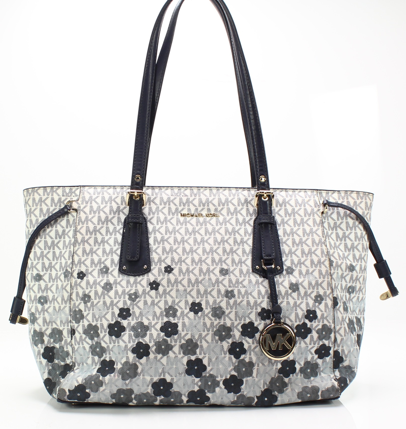e84498d6aa Michael Kors Blue White Voyager Signature Floral Medium Tote Bag  278-  048