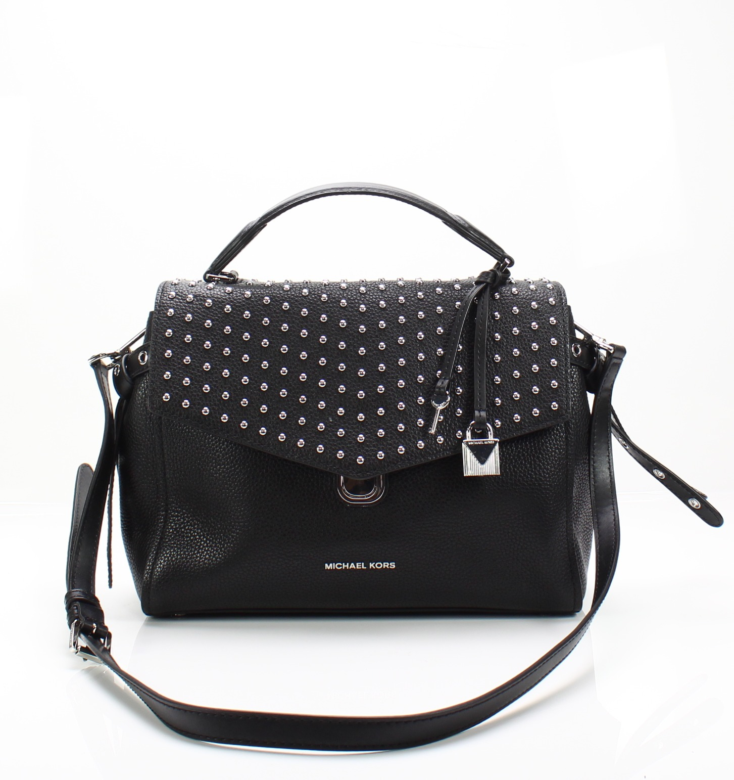 f5b533612391 ... inexpensive details about michael kors black silver studded pebble  leather bristol satchel bag 368 012 66b42