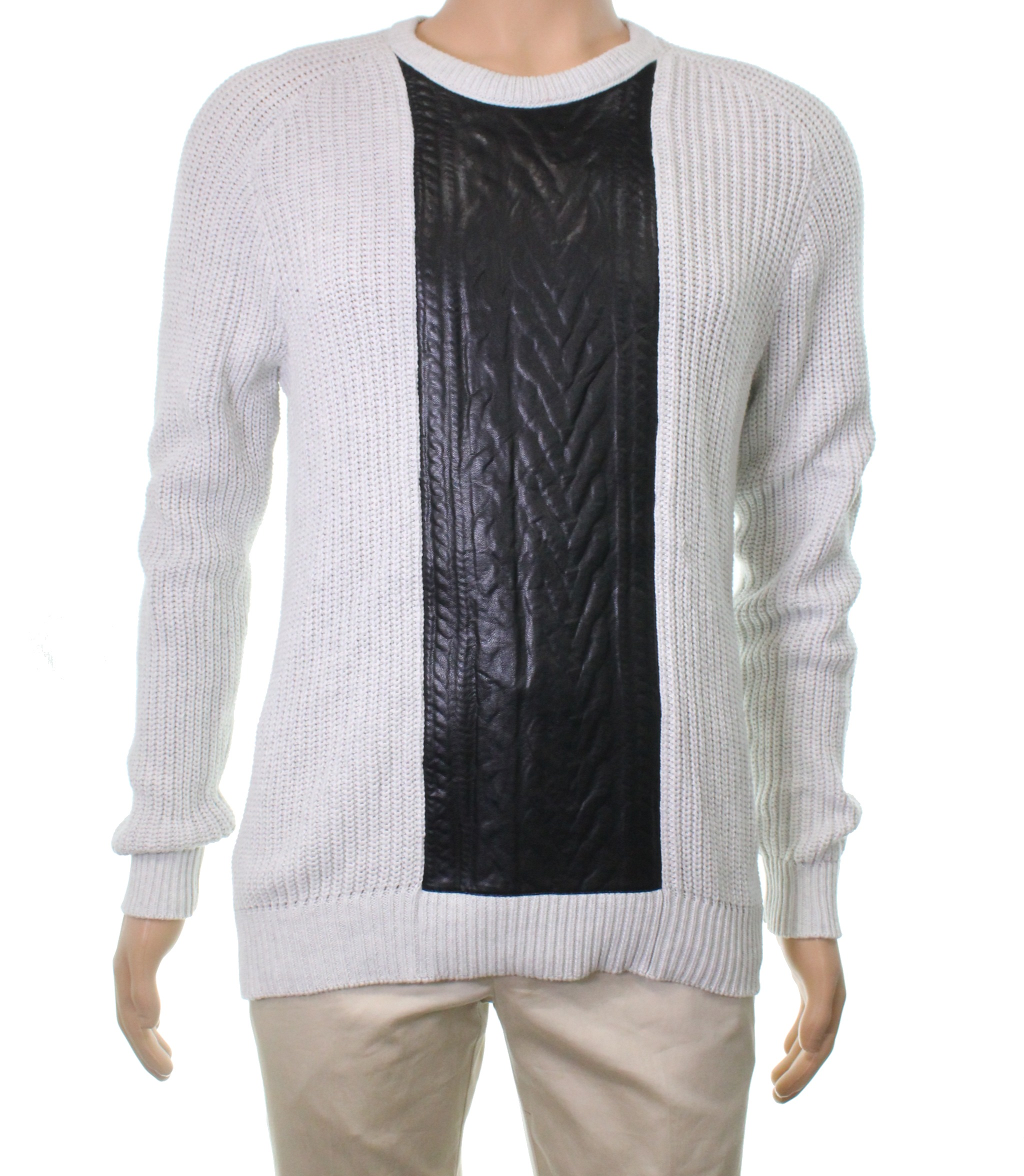 New INC NEW Gray Men XL Cable Knit Pleather Pullover Crewneck Sweater 79 #544