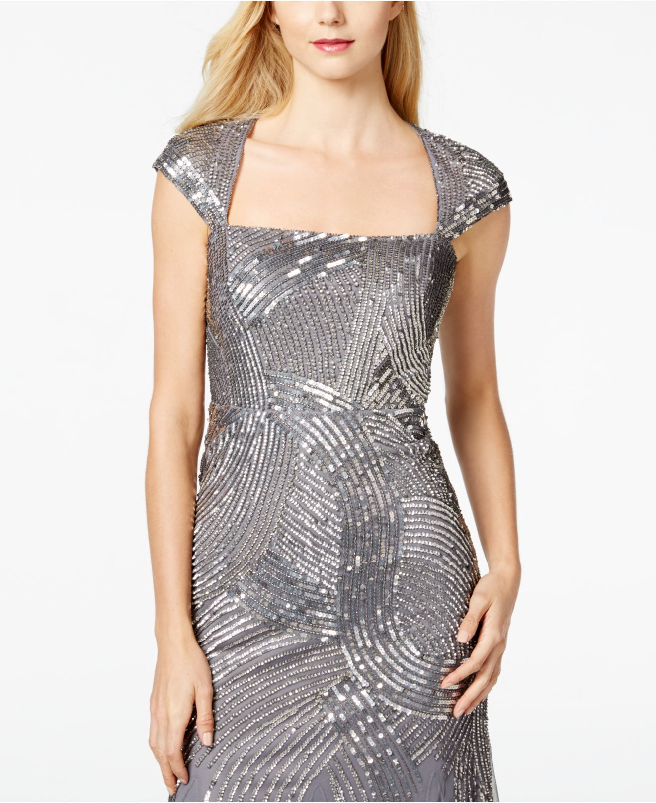 Adrianna Papell NEW Silver Sequined Women\'s Size 4 Evening Gown $229 ...