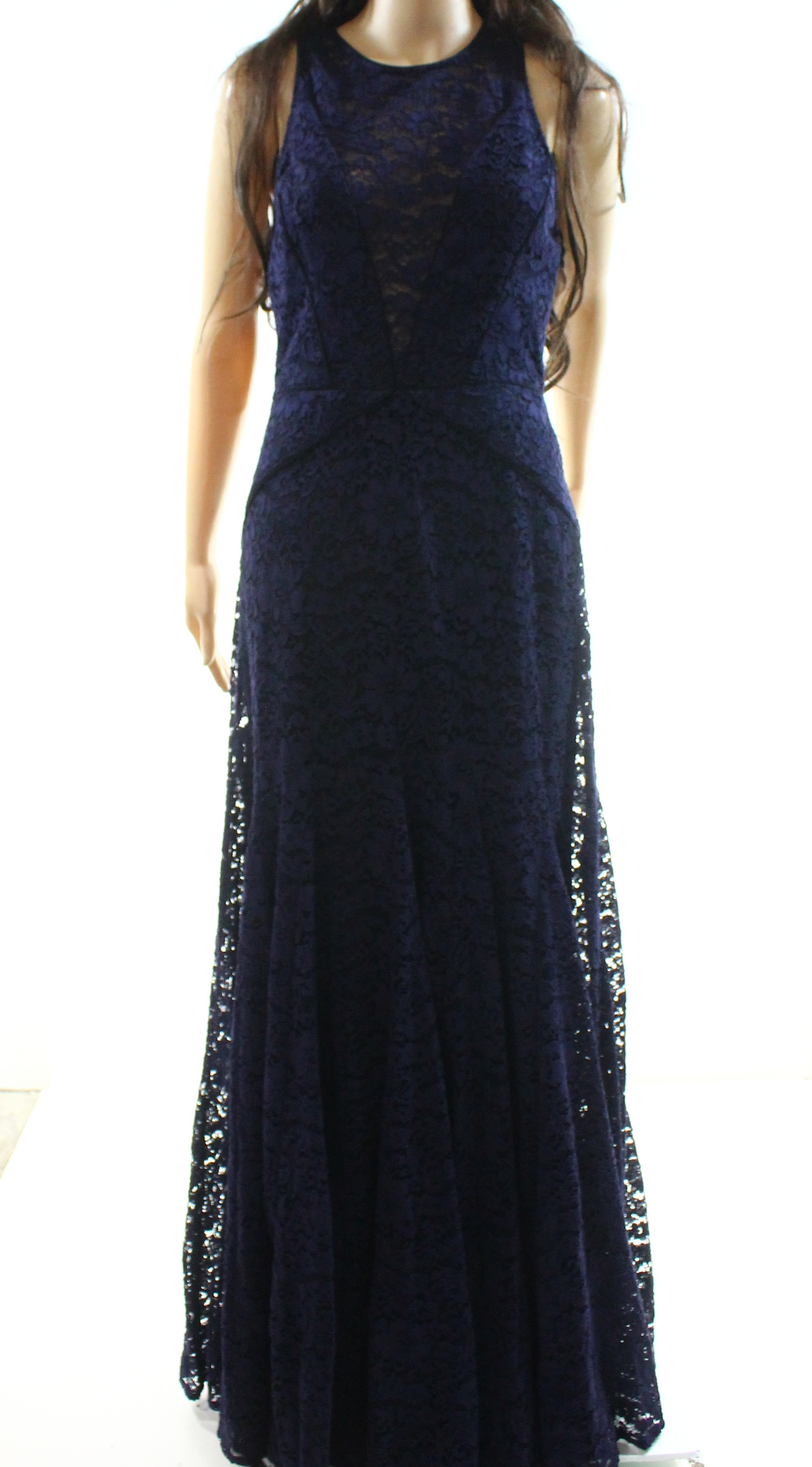Vera Wang New Navy Blue Womens Size 6 Floral Lace Evening Gown 448