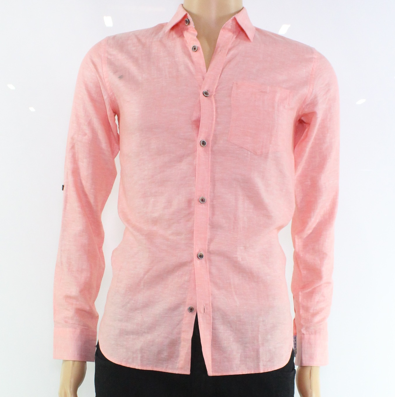 Ted Baker New Pink Salmon Mens Xs 1 Chest Pocket Button Down Shirt