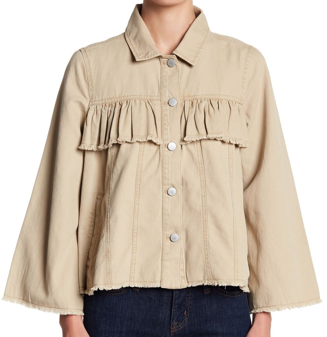 ab8de384 Abound NEW Beige Women's Size XXS Ruffle Trim Denim Fringed Hem Jacket 40  #637