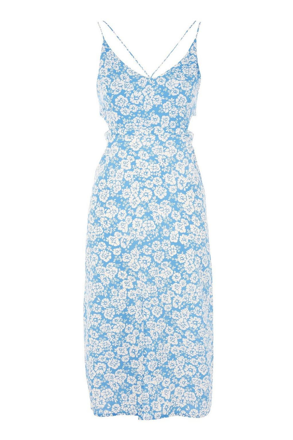 Topshop New Blue White Womens Size 4 Cutout Floral Sheath Dress 75