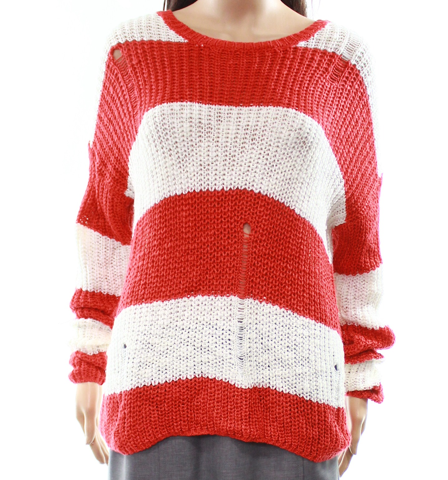 7462c8752 Cotton Emporium NEW Red Women s Size Large L Striped Knitted Sweater  60   170