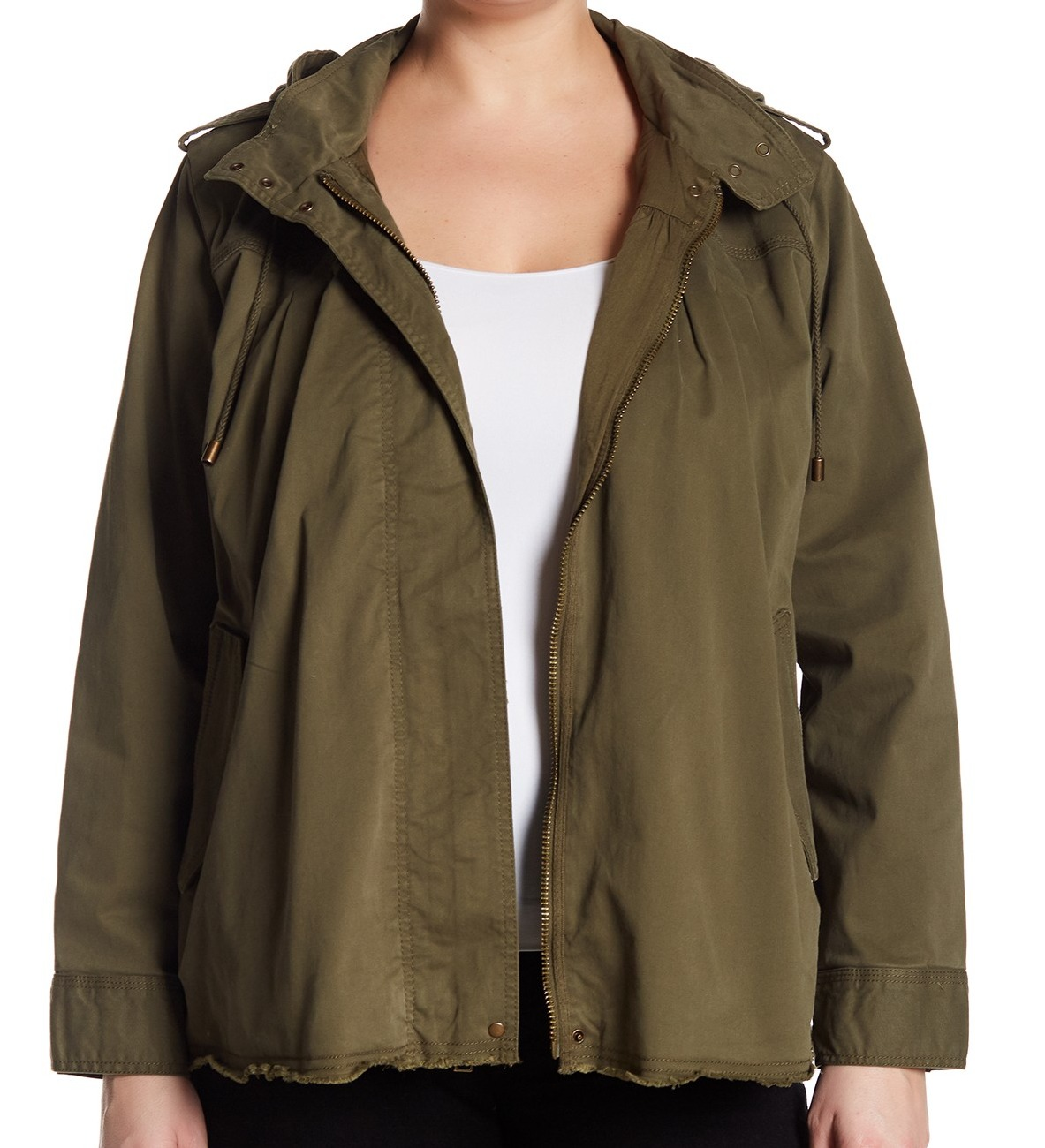 f404d75cb76 Details about Lucky Brand NEW Green Olive Women s 1X Plus Raw Hem Military  Jacket  139  234