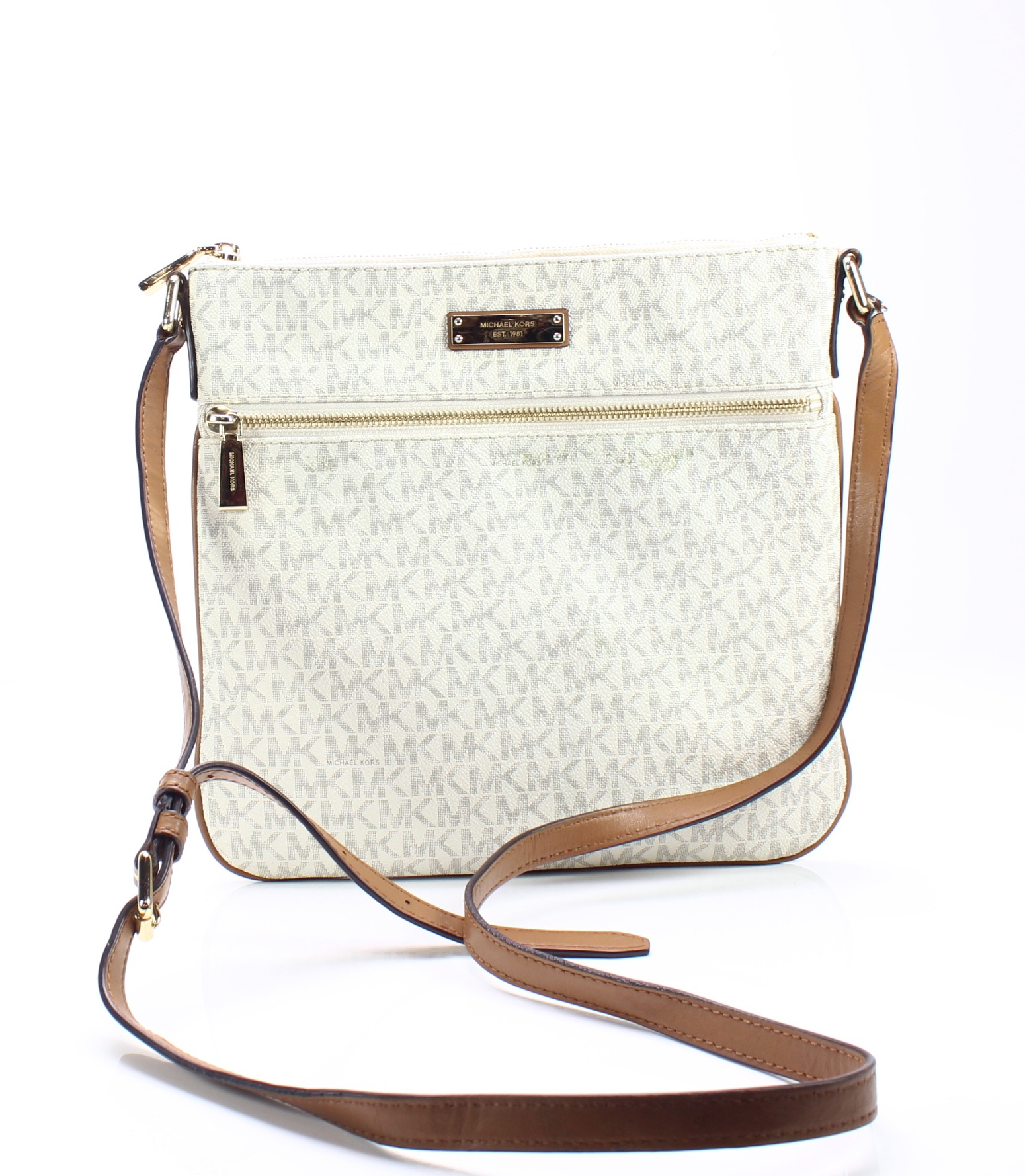 Michael Kors Vanilla White Signature Bedford Flat Small Crossbody Bag  178-   047 8604c6acdc39a