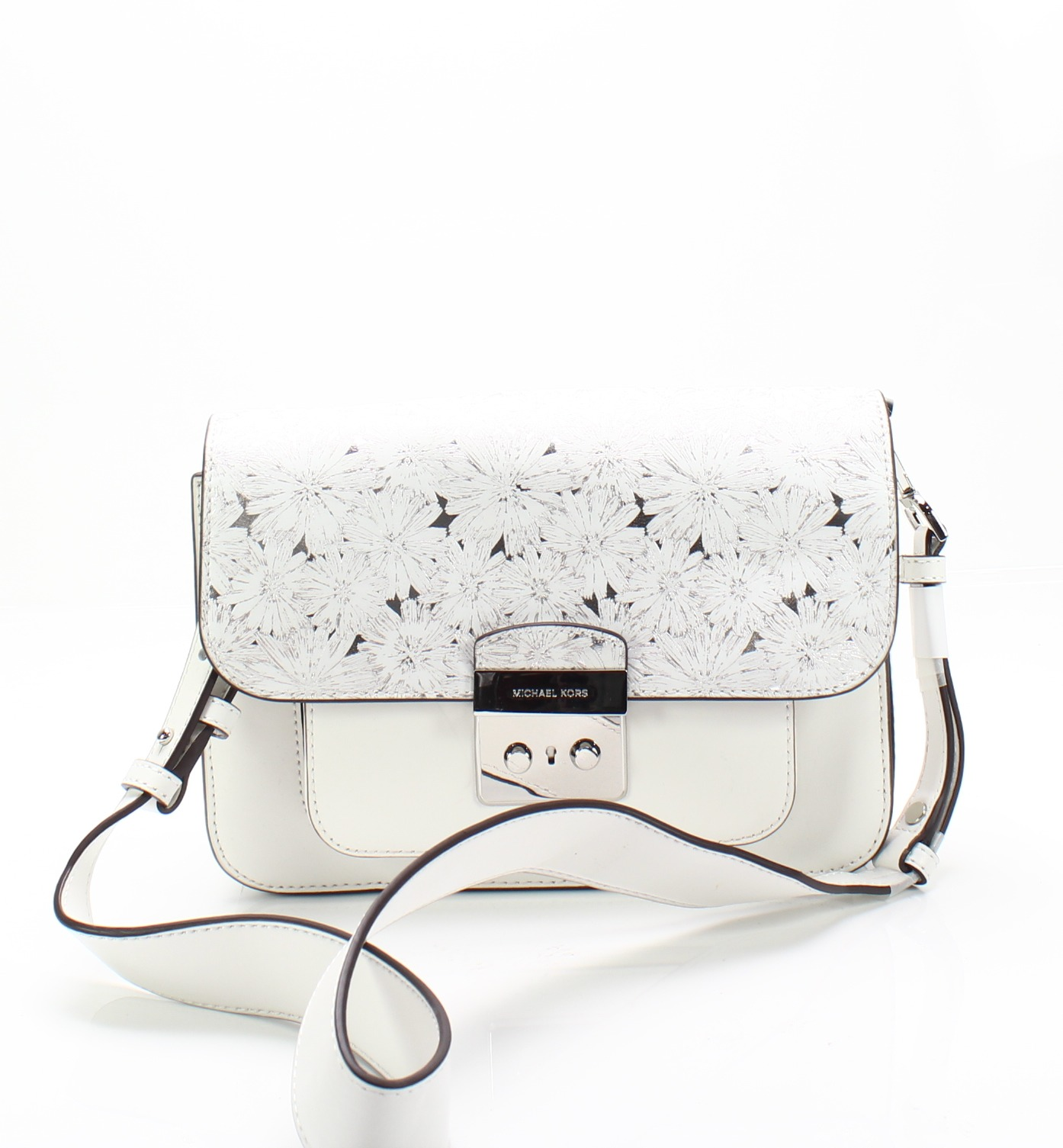c79a12d08e7f Details about Michael Kors NEW White Silver Sloan Editor Large Leather  Shoulder Bag $328- #026