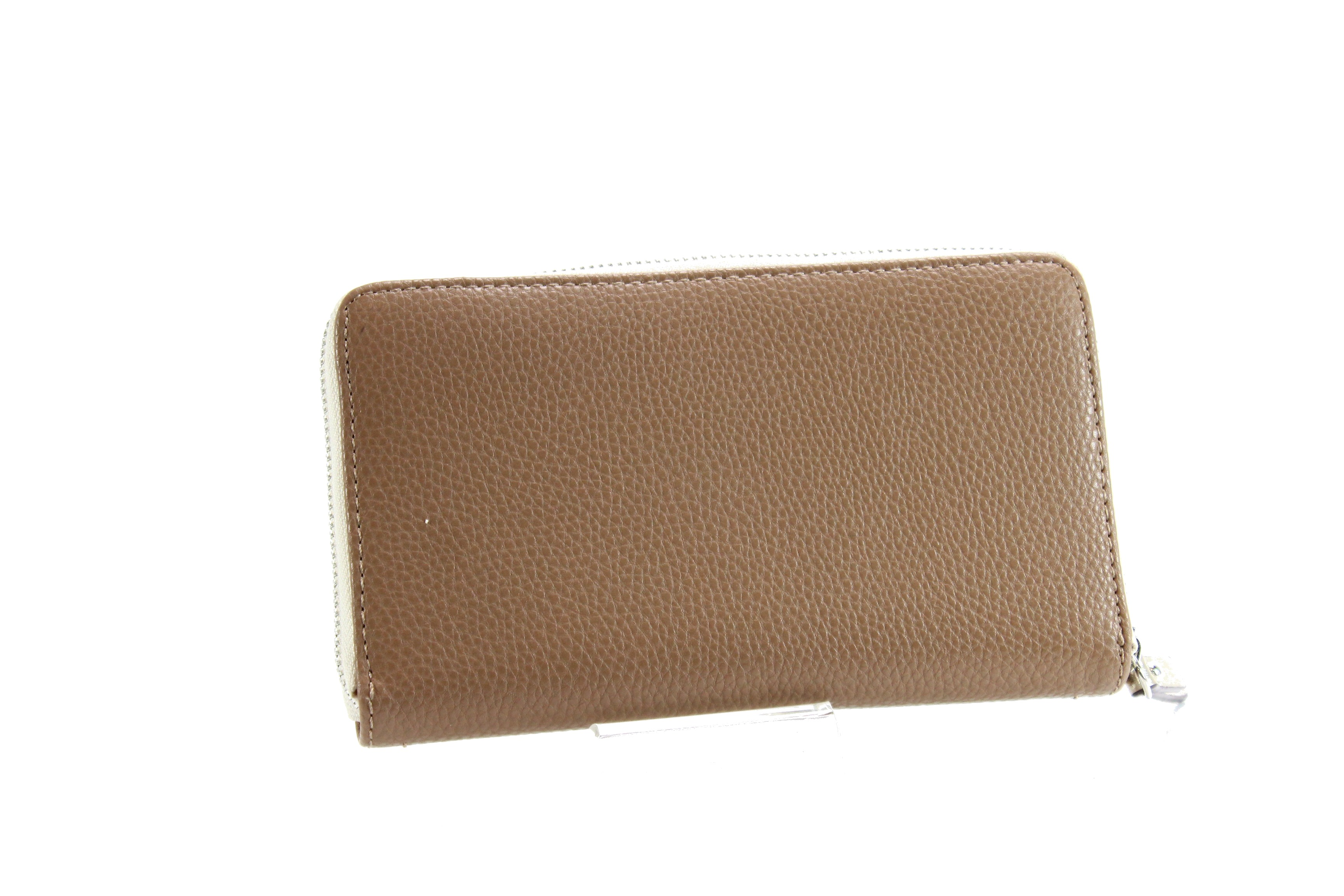 80fa872d83000 Nine West NEW Brown Silver Small Zip Around Clutch Leather Wallet ...
