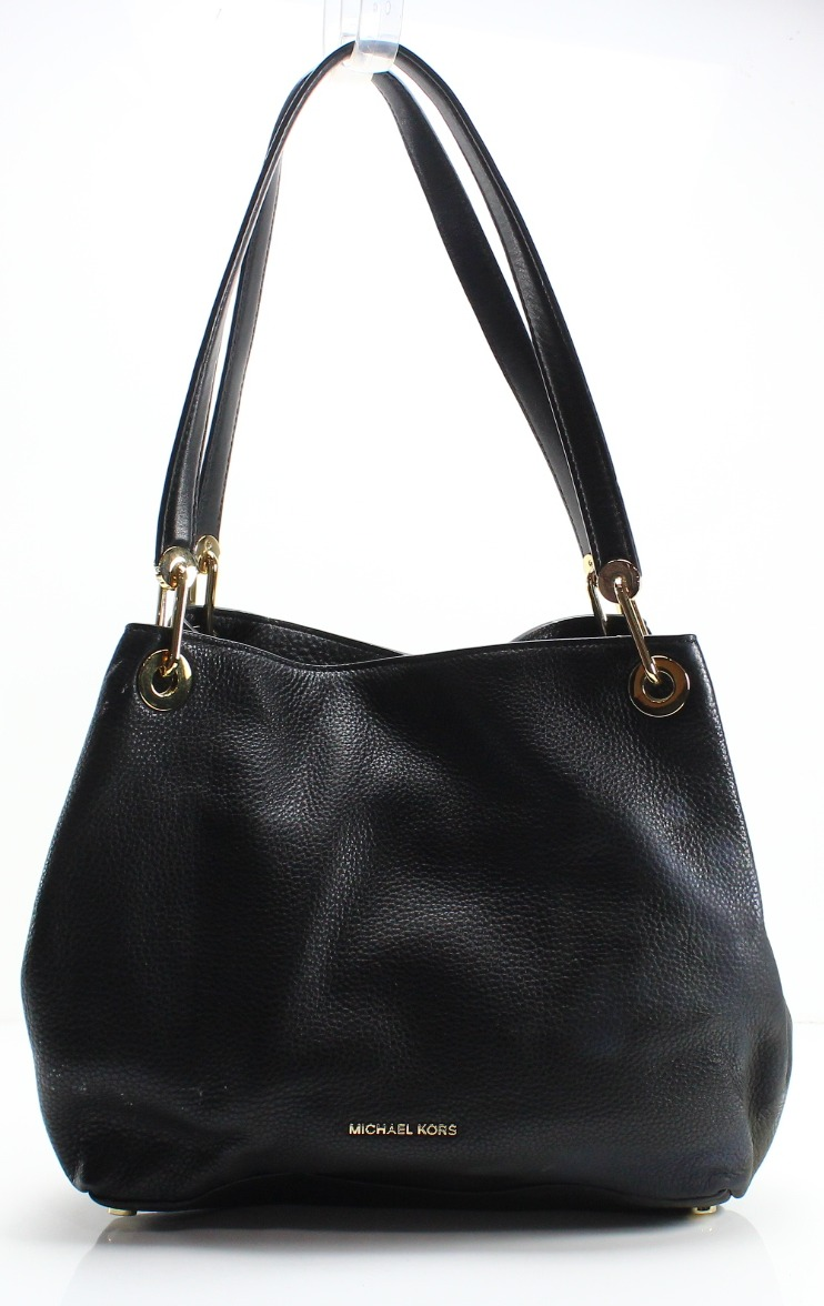 82d41e31c Michael Kors Black Pebble Leather Raven Large Shoulder Tote Bag $298- #013