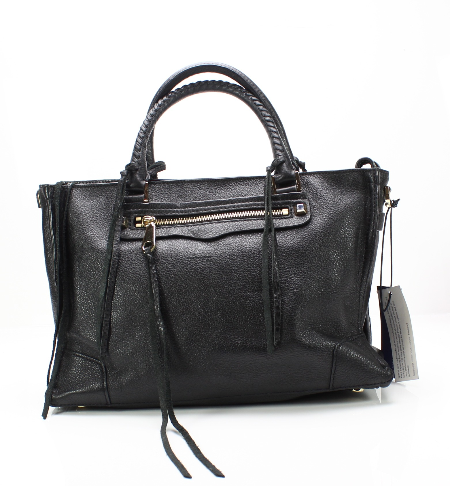 015c962d0ae5a Details about Rebecca Minkoff NEW Black Gold Pebble Leather Regan Satchel  Tote Bag  325-  064